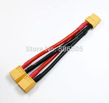 Free shipping 10CM 14awg silicone XT60 Parallel Connector Cable Extension Y Splitter XT60 Parallel Cable(China)