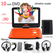 Free Shipping 10 Inch Portable Dvd Player companion Hang bags Car charger dvd two headphones Ultra-thin fashion 4hours battery(China)