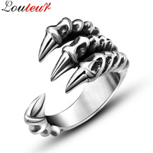LOULEUR 2017 Punk Rock Stainless Steel Mens Biker Rings Antique Silver Color Dragon Claw Ring Men Vintage Gothic Jewelry