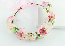 Wedding Bridal Party voile flower beige pink handmade artifical fabric Flower Hair Band Tiara Headband Jewelry Accessories(China)