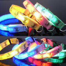 Adjustable LED Light Flashing Reflective Cartoon Puppy Dog Collar Luminous Safety Nylon 5 Color Wholesales