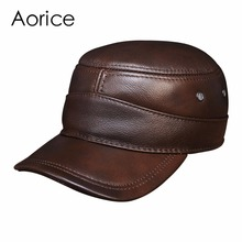 HL088 Men's genuine leather baseball cap brand new winter warm  real cow leather caps hats