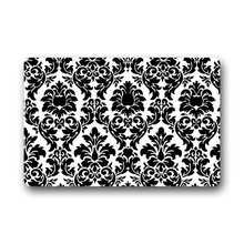 DailyLifeDepot Custom Top Fabric & Non-slip Rubber Backing Doormat Door Mats Rectangle Black And White Damask Door Mat