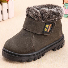 New Children Boots Boys Girls Winter Snow Boots Plush Lined Cow Leather Waterproof Baby Shoes Kids Martin Sneakers Flats