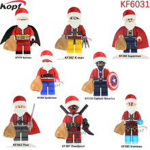 Single Sale Merry Christmas Super Heroes Captain America Batman Superman Deadpool X-man Building Blocks Toys for children KF6031(China)