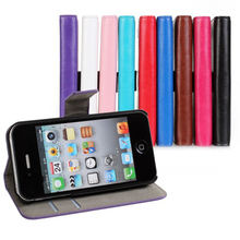 Luxury Wallet Leather Case For iPhone 4 4S 4G With Stand Flip Book Design With Card Holder Phone Cover For iPhone4 4S Bags