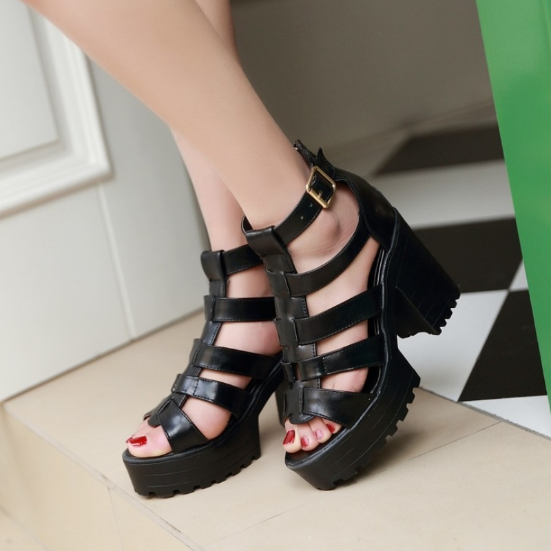 New Fashion Rome Style Shoes, Women Solid Peep Toe Gladiator Shoes, Buckle Platform Women Sandals 10
