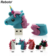 Reboto Unicorn USB Flash Drive 64GB Genuine cartoon Memory Stick Pen drive 4GB 8GB 16GB 32GB pendrive u disk toy