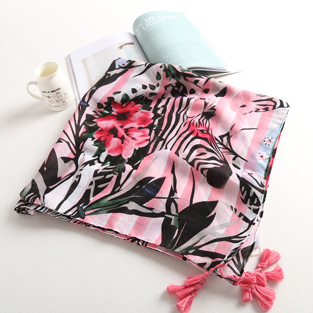 New Ombre Flower And Leaf Print Tassel Scarf Cotton Floral Zebra Print Wrap Shawls Hijab Wholesale 10pcs/LOT Free Shipping