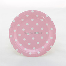 Free Shipping 60pcs Pink Polka dot Paper Plates for Party Holiday Favor Supplies