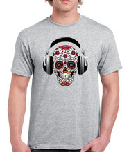 2017 Newest Letter Print Short Sleeve 100% Cotton For Man T Shirt Men Dj Headphone Pop Music Skull Cheap T Shirt Design(China)