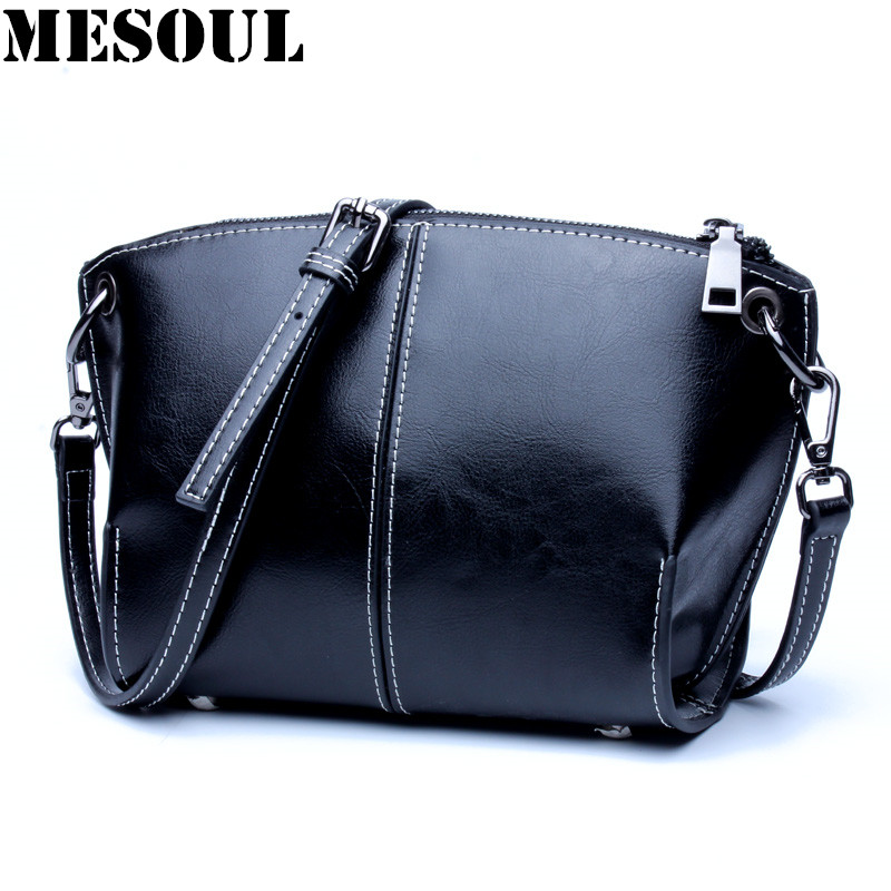 MESOUL Vintage Small Crossbody Bags For Women 2017 New Shoulder bags High Quality Shell Bag Genuine Leather Messenger Bag Female<br>