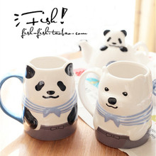 3D Panda Mugs Office Coffee Cup Tea Milk Cups Creative Ceramic Breakfast Cup Animal Cute Cartoon Mugs Drinkware Lovely Gifts(China)