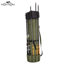 Foldable Canvas Fishing Bag Outdoor Fishing Rod Bags Fishing Pole Tools Carrier Storage Bag Case Fishing Gear Organizer Pesca