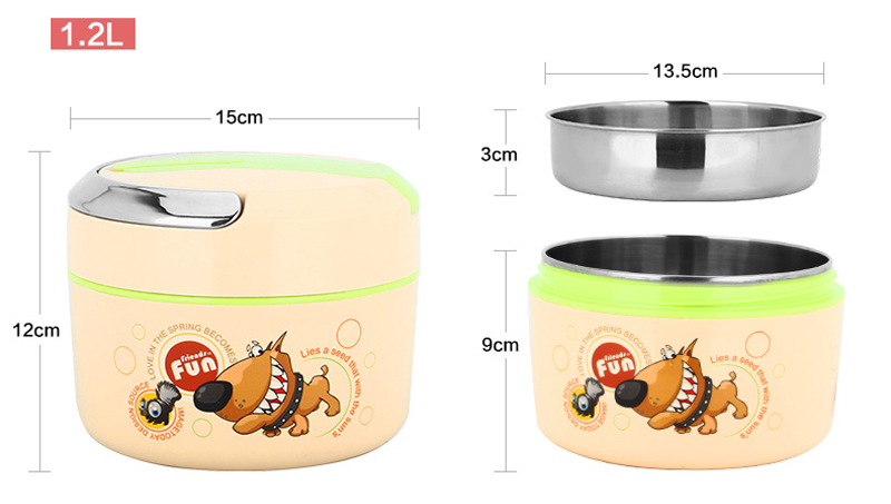 Cute Cartoon 304 Stainless Steel Lunchbox Thermal Insulation Food Storage Container Portable Handle Picnic Bento Lunch Box 10