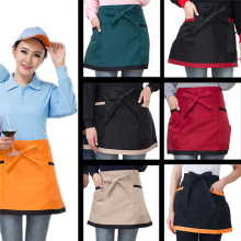 Universal Unisex Women Men Contrast Color Kitchen Hotel Cafe Bar Cooking Waist Apron Short Apron Pinafore Waiter Chef Apron