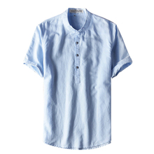 NEW Slim Men Shirts Linen Culture for Summer Men's Shirt Short 2017 Flax Man Shirts XXL Breathable Asian Plus size M-XXXL(China)