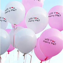100pcs/lot White/Pink Color 12 Inch Latex Balloon Will You Marry Me Balloon Helium Bubble Shape Wedding Balloon 2.8g(China)