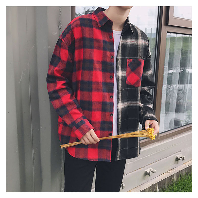Aolamegs Shirts Men Classic Patchwork Plaid Male Shirts Thin Cotton Full Sleeve Shirt Fashion Casual Slim College Style Autumn (15)