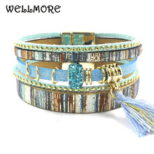 Buy blue beige leather bracelet women charm bracelets magnet buckle Friendship bracelet Bohemian bracelets&bangles wholesale B1602 for $4.25 in AliExpress store