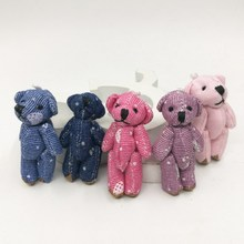 "4.5cm(1.8"") Small Cowboy Cloth Teddy Bear Mini Urso De Pelucia Jewel Craft/baby shower/decoration/bow Soft Toys(China)"
