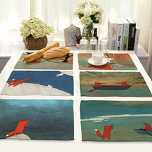 42X32CM Table Napkins Cute Cartoon Fox Printed Linen Dinner Napkins Dish Towel Tea Coffee Table Decor Western Mats