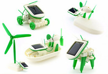 Free Shipping 6 in 1 Solar DIY Educational Kit Toy Boat Fan Car Robot Gadget Moving Power