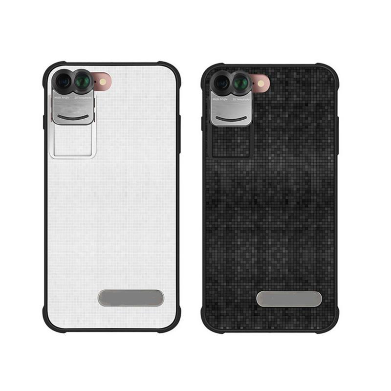 17 New For iPhone 7 Plus 7Plus Dual Phone Camera Lens Fisheye Wide Angle Macro Telescope Camera Phone Lens with Phone Case 2