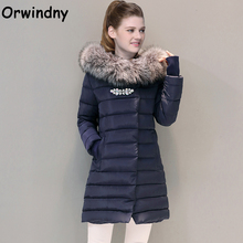 Orwindny Winter Coat With Fur Collar Brooch Women Clothing Outerwear Cotton-padded Jacket Long Slim Casual Fashion Parkas
