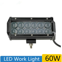 LED Work Light 7 inch 60W Bar 4D DRL for Tractor Boat OffRoad 4WD 4x4 Truck SUV ATV fog lights for the car Best Quality
