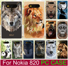 Case For Nokia Lumia 820 N820 Cool Animal Lion Tiger Wolf Polar Bear Owl Frog Bird Plastic PC Hard Phone Case Back Cover Capa