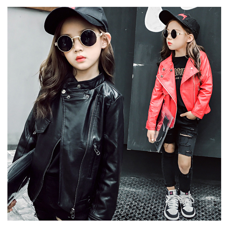 2017 New Teen Girls Faux Leather Jacket Childrens PU Clothing Top for 6-12Y Kids Zipper Motorcycle Outerwear Red Black Jacket<br>