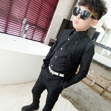 100-170CM~Children's Outfit Casual 2 PCS Kids Set,Black Vest+Pants ,Party Suit for Baby Boys