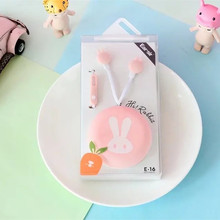 Candy Color in ear Earphone cartoon rabbit mini earphones with Storage Box for Iphone samsung xiaomi moblie phone(China)