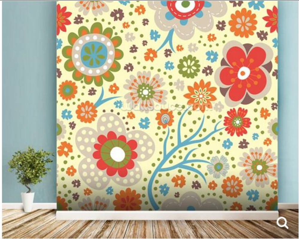 Custom abstract wallpaper,Abstract Floral - Colourful cartoon murals for living room bedroom bar KTV background wallpaper<br>