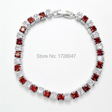 New Spring High Quality Brand Rhodium plated Zircon Bracelet Sapphir red Gem Cubic Zirconia red Tennis Jewelry For Women