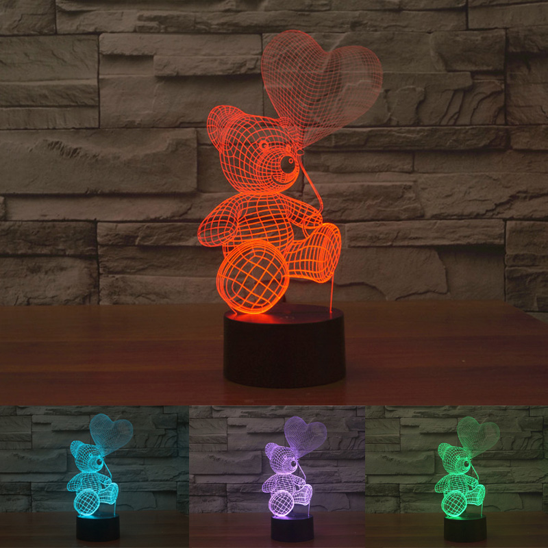 NEW Balloon Teddy Bear 3D LED Lights Night Light Colorful Changing Table Lamp with Touch Switch Creative Atmosphere LED Lampe 3D(China (Mainland))