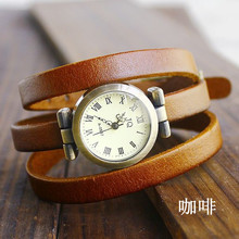 Holiday sale christmas gift Vintage Genuine Cow leather wrist watch women dress fashion quartz watch N3D87(China)