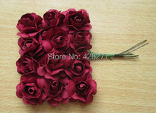 Free shipping 144PCS/LOT Dark red Mulberry Paper Flower Bouquet/wire stem/ Scrapbooking artificial rose flowers 004011014(China)