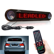 12V 30cm IR Remote Car Programmable Scrolling Led Advertising Message display board 7X40 Pixel Red Car rear window Moving sign(China)