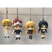 4pcs/lot Food Wars! Shokugeki no Soma Yukihira souma/Erina Nakiri PVC Figure Model with bases &chains keychain (Chinese Version)(China)