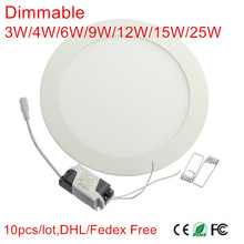 Ultra thin Recessed 3W/4W/6W/9W/12W/15W/25W Dimmable led downlight AC85-265V low price High quality led panel lamp bulb 10Pcs(China)