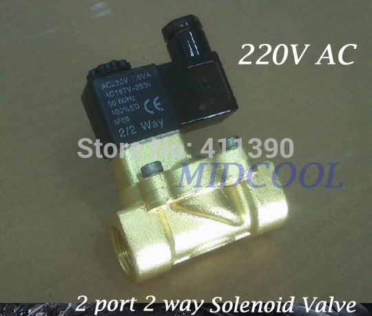 Guide Type Brass Solenoid Valvula de agua2v250-25 two-position two way normally closed solenoid valve G1/2 AC220V<br>
