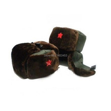 Chinese Russian Army Trooper Hat Ushanka winter Green Warm Cap Red Star Badge(China)