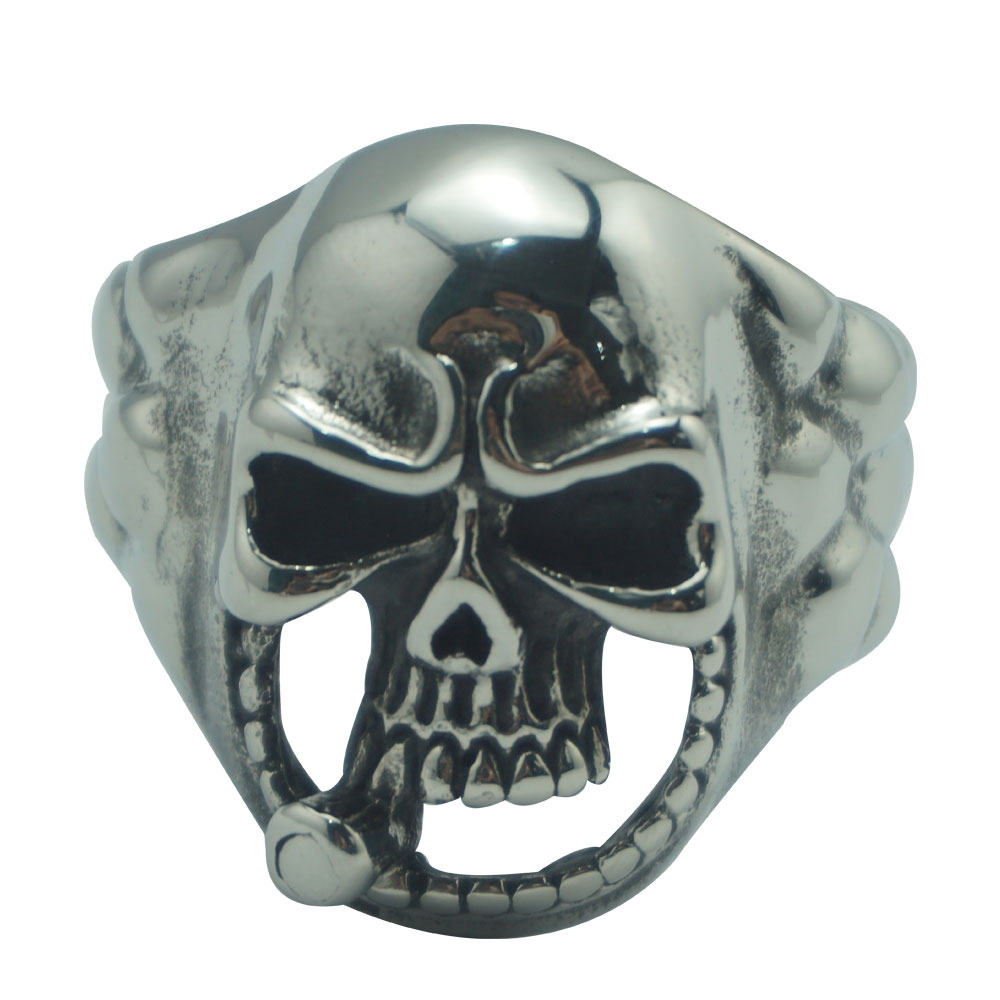 Length 128mm new design Skull head stainless steel anal butt plug with cock ring metal two anal beads fetish insert sex toys 2