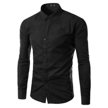 2017 Fashion Brand Mens Shirt Long Sleeve Camisa Masculina Men's Clothing Casual Dress Shirts Solid Color Work Wear Men 6492