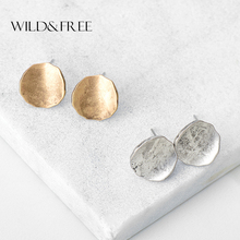 Buy Women Vintage Zinc Alloy Round Stud Earrings Retro Antique Gold Silver Simple Europe Stud Earrings Jewelry Female Gift for $2.32 in AliExpress store
