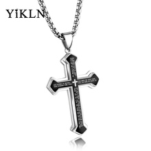 YiKLN Classic Titanium Steel Bible Cross Pendant Necklaces Jewelry Can Be Engrave Letters Chains Necklace For Men YGX1360(China)