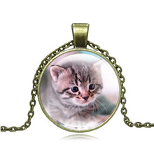 XUSHUI XJ Cute Cat Glass Pendant Necklace Vintage Jewelry Handmade diy  Antique Bronze Chain Necklace for Women Gift