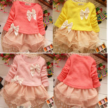 2015  New Casual Girls Top Kid Lace Bow Princess Long Sleeve Dress Girls Clothes